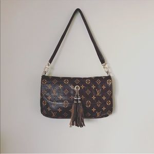 LOUIS VUITTON real leather purse bag clutch brown